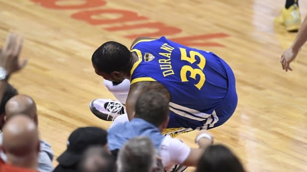 Kevin Durant going down with achilles injury in NBA Finals