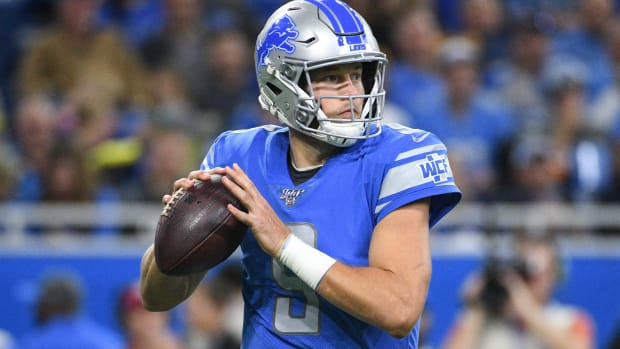 Oct 20, 2019; Detroit, MI, USA; Detroit Lions quarterback Matthew Stafford (9) drops back to pass during the second half against the Minnesota Vikings at Ford Field.