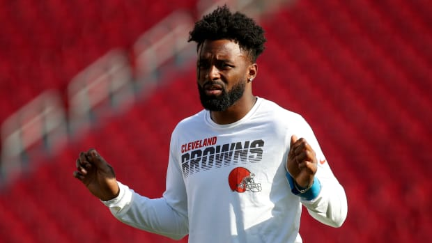 Browns receiver Jarvis Landry on the field