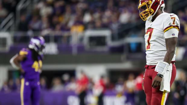 Dwayne Haskins looks dejected vs Vikings