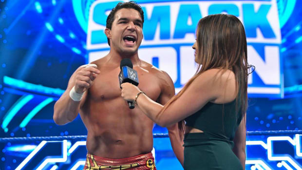 WWE's Chad Gable (Shorty G) gives a promo in the ring