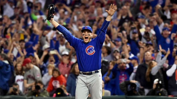 Nov 2, 2016; Cleveland, OH, USA; Chicago Cubs first baseman Anthony Rizzo (44) celebrates after defeating the Cleveland Indians in game seven of the 2016 World Series at Progressive Field. Mandatory Credit: Ken Blaze-USA TODAY Sports