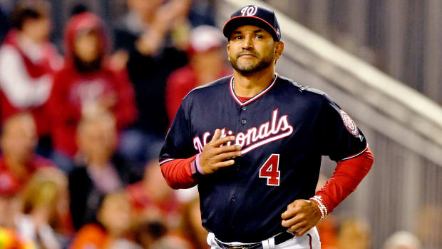 Oct 25, 2019; Washington, DC, USA; Washington Nationals manager Dave Martinez during the fifth inning against the Houston Astros in game three of the 2019 World Series at Nationals Park. Mandatory Credit: Tommy Gilligan-USA TODAY Sports
