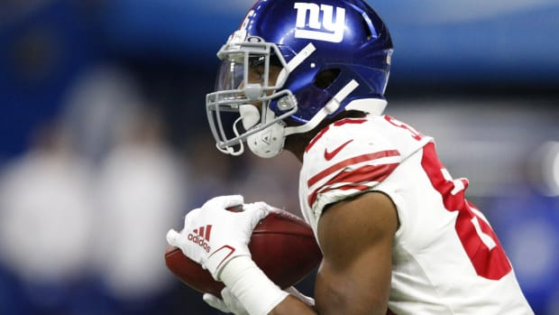 Oct 27, 2019; Detroit, MI, USA; New York Giants wide receiver Darius Slayton (86) catches a kickoff during the first quarter against the Detroit Lions at Ford Field.
