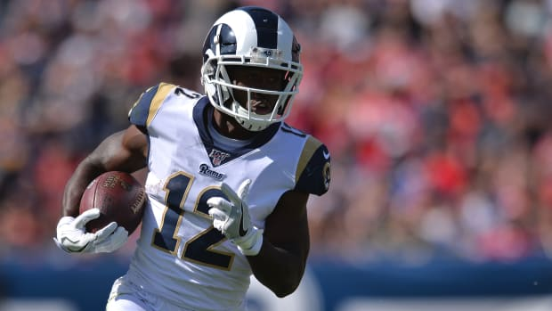 Brandin Cooks catches a pass for the Los Angeles Rams.