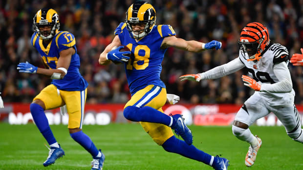 Cooper Kupp makes one of five catches in the first half of the Rams game against the Bengals in London.