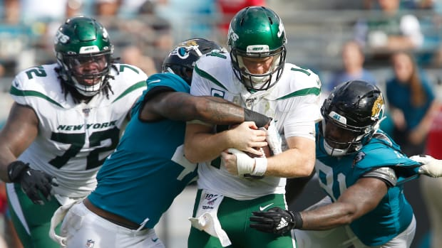 Sam Darnold sacked during the Jets' loss to the Jaguars.