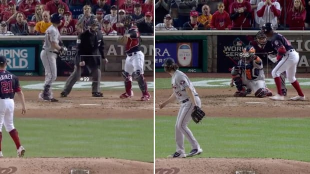 Side-by-side view of bad calls by MLB umpire Lance Barksdale in the World Series