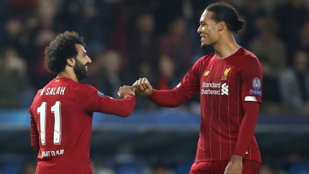 Liverpool's Mohamed Salah and Virgil van Dijk