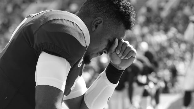 Jalen Hurts, black and white