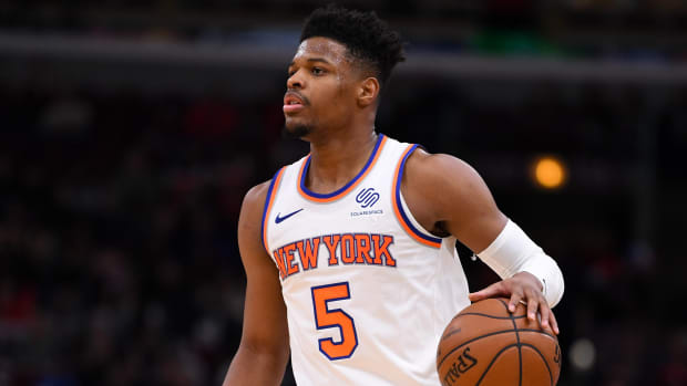 Dennis Smith Jr. plays at Madison Square Garden for the New York Knicks.