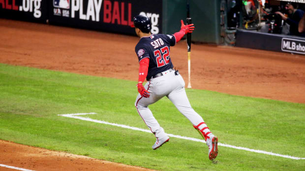 Oct 29, 2019; Houston, TX, USA; Washington Nationals left fielder Juan Soto (22) hits a solo home run against the Houston Astros during the fifth inning in game six of the 2019 World Series at Minute Maid Park. Mandatory Credit: Thomas B. Shea-USA TODAY Sports