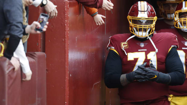 Redskins tackle Trent Williams looks on during a game against the Philadelphia Eagles at FedEx Field. The Eagles won 24-0.