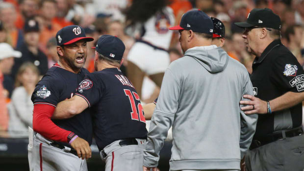 Nationals manager Dave Martinez is ejected during World Series Game 6