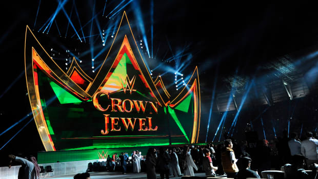 The stage at WWE's Crown Jewel in Saudi Arabia