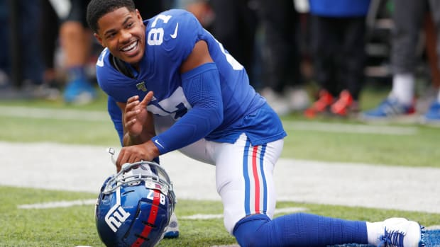 Oct 6, 2019; East Rutherford, NJ, USA; New York Giants wide receiver Sterling Shepard (87) during warm up before game against the Minnesota Vikings at MetLife Stadium.
