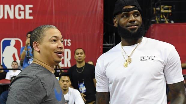 Tyronn Lue and LeBron James