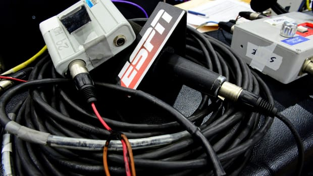 Mar 2, 2017; Boulder, CO, USA; General view of an ESPN broadcast microphone before the game between the Stanford Cardinal against the Colorado Buffaloes at the Coors Events Center.