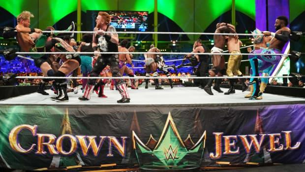 WWE wrestlers in Saudi Arabia at Crown Jewel
