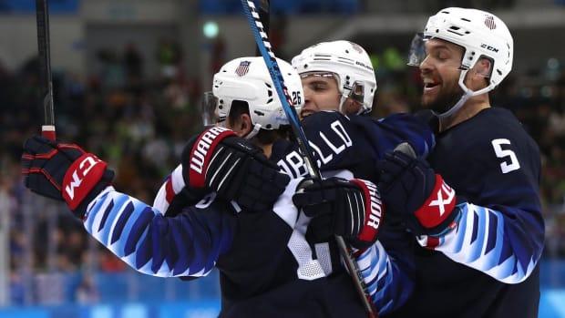 USA Men's Hockey Team Keeps Medal Hopes Alive With Big Win Over Slovakia - IMAGE