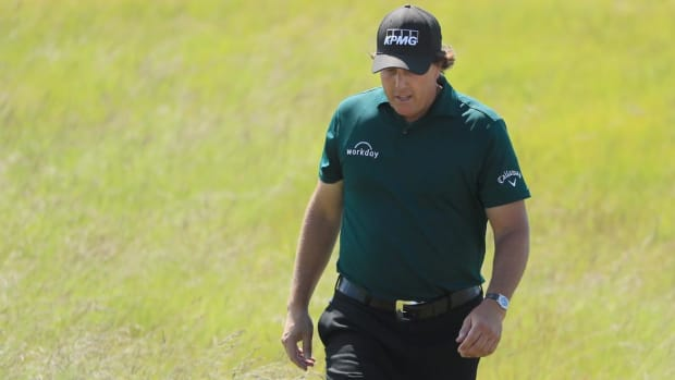 Phil Mickelson Makes Ten After Striking Moving Ball On 13th Green  - IMAGE