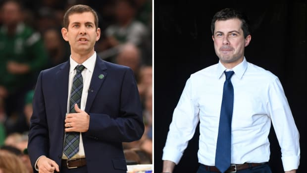 Split image of Celtics coach Brad Stevens and presidential candidate Pete Buttigieg