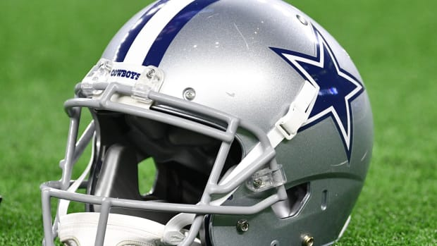 Jan 5, 2019; Arlington, TX, USA; A view of a Dallas Cowboys helmet prior to the NFC Wild Card playoff football game against the Seattle Seahawks at AT&T Stadium.