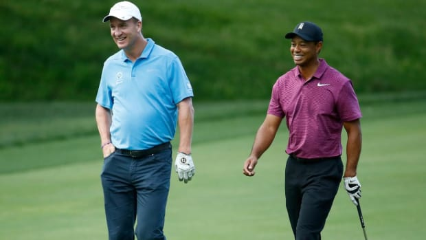 Tiger Woods, Peyton Manning Tee It Up Together at The Memorial Pro-Am--IMAGE