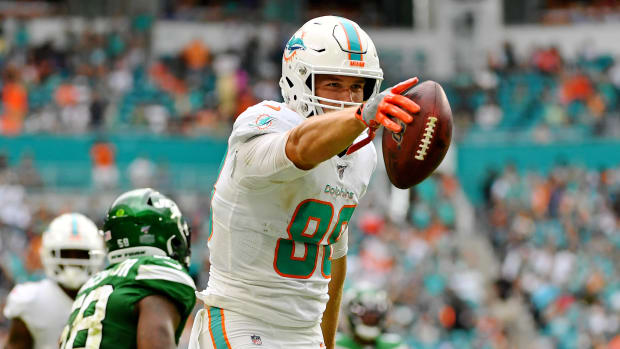 Nov 3, 2019; Miami Gardens, FL, USA; Miami Dolphins tight end Mike Gesicki (88) reacts after making a catch for a first down against the New York Jets during the first half at Hard Rock Stadium. Mandatory Credit: Jasen Vinlove-USA TODAY Sports