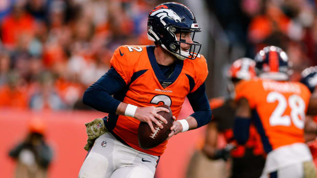 Denver Broncos quarterback Brandon Allen (2) looks to pass in the third quarter against the Cleveland Browns at Empower Field at Mile High.