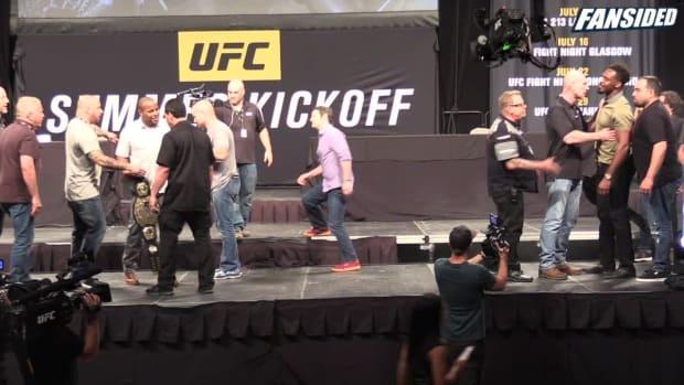 UFC 214: Daniel Cormier and Jon Jones staredown - IMAGE