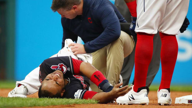 Indians Slugger Encarnacion Leaves Game 2 With Sprained Ankle--IMAGE