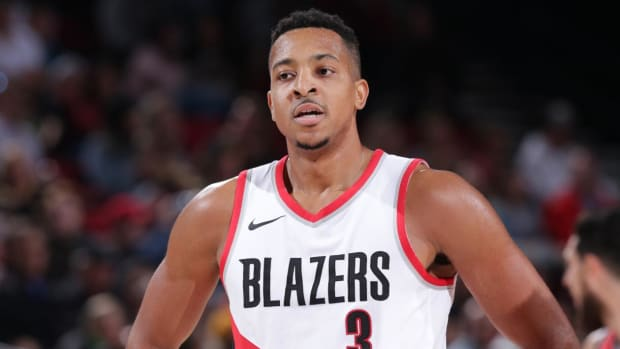 C.J. McCollum Suspended for Season Opener After Leaving Bench in Altercation - IMAGE