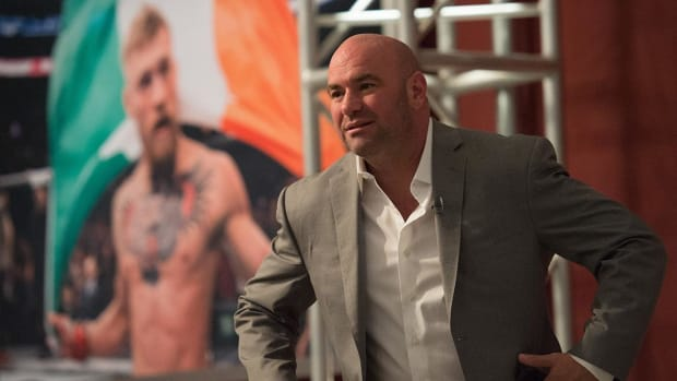 SI's Maggie Gray Talks to UFC President Dana White After The Fight--IMAGE