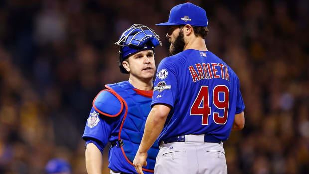 Miguel Montero blames Jake Arrieta after Nationals steal seven bases on him - IMAGE