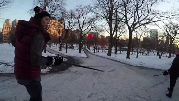 Hilary Knight stickhandles through the streets of Boston - IMAGE