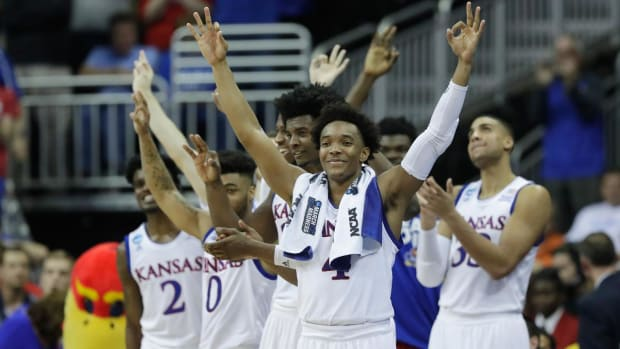 Kansas' dynamic backcourt leads rout of Purdue--IMAGE