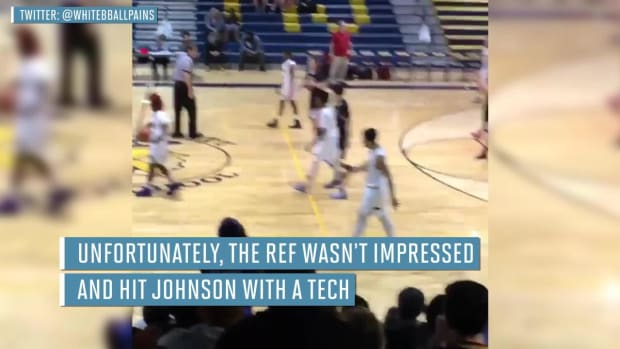 High school basketball player gets technical for dancing--IMAGE