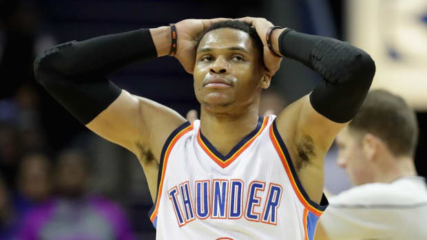Westbrook drills ref in head with ball, says it was unintentional - IMAGE