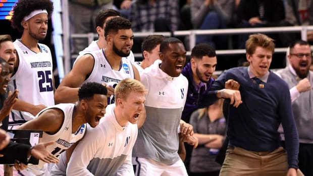 Northwestern wins first ever NCAA tournament game--IMAGE