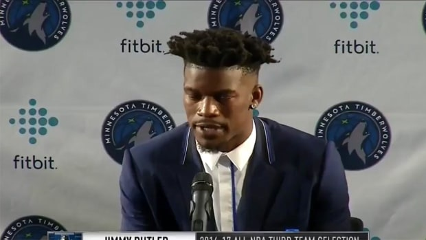 Jimmy Butler gives his number out at press conference--IMAGE