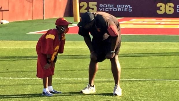 Ten-Year-Old Boy Battling Leukemia Practices with USC Trojans IMAGE