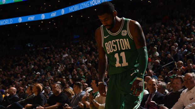 Celtics PG Kyrie Irving Leaves Game After Blow to The Head - IMAGE