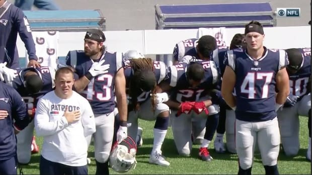 Multiple Patriots Players Kneel During National Anthem  - IMAGE
