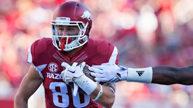 "Arkansas's Drew Morgan discusses life under Bret Bielema, playing with his brother and his definition of ""The Juice"""