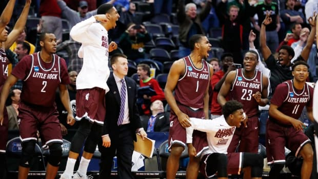 Watch: Little Rock celebrates in locker room after upsetting Purdue