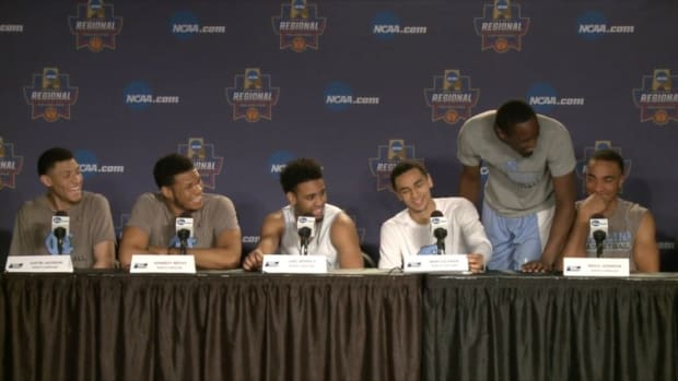 Watch: UNC's Theo Pinson crashes Elite Eight press conference