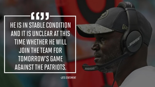 Jets' Todd Bowles admitted to hospital, did not travel to New England - IMAGE