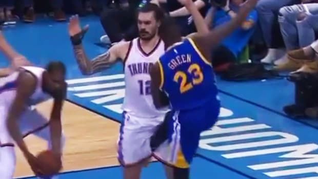 Mustard Minute: Did Draymond Green intentionally kick Steven Adams in his groin? IMG
