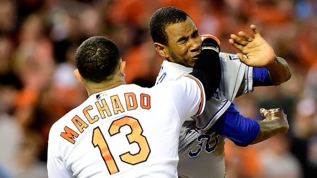 Yordano Ventura, Manny Machado suspended, fined for brawl--IMAGE